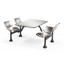 24 x 48 Cluster Stainless Steel Seating Table with 4 Seats