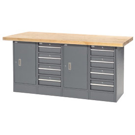 "72""W x 24""D Maple Top 8 Drawer/2 Cabinet Workbench"