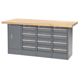 "72""W x 24""D Maple Top 12 Drawer/1 Cabinet Workbench"