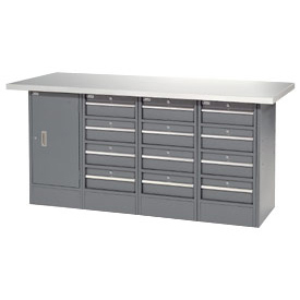 "72""W x 24""D Plastic Top 12 Drawer/1 Cabinet Workbench"