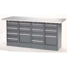 "72""W x 24""D Plastic Top 14 Drawer Workbench"