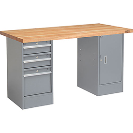 "60"" W x 24"" D Pedestal Workbench W/ 3 Drawers & 1 Cabinet, Maple Butcher Block Square Edge - Gray"