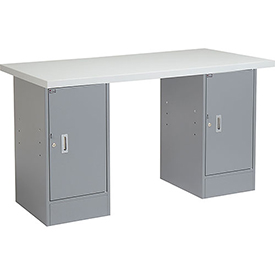 "60"" W x 24"" D Pedestal Workbench W/ Double Cabinet, Plastic Laminate Square Edge - Gray"