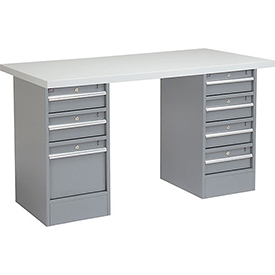 "60"" W x 24"" D Pedestal Workbench W/ 3 Drawer/ 4 Drawers, Plastic Laminate Square Edge - Gray"
