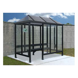 Smoking Shelter Vented Poly-Hip Roof Four Sided With Left Front Opening 10'X10'