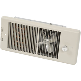 TPI Low Profile Fan Forced Wall Heater With Wall Box HF4375TRP - 750/562W 240/208V Ivory