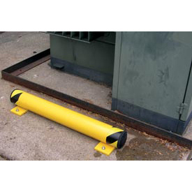 "Steel Floor Stop Bollard With Removable Rubber Caps 48""L X 5""H"
