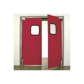 "Aleco® 6'0"" x 7'0"" Twin Panel Light Duty Red Impact Door 431107"