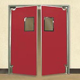"Aleco® 5'0"" x 7'0"" Twin Panel Medium Duty Red Impact Door 432081"