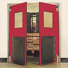 "Aleco® 6'0"" x 7'0"" Twin Panel Heavy Duty Red Impact Door 435033"