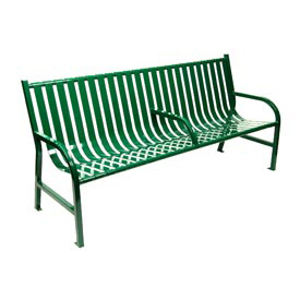 6 Feet Slatted Metal Bench With 3 Armrests - Green