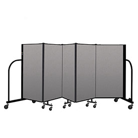 "Screenflex Portable Room Divider 5 Panel, 4'H x 9'5""L, Vinyl Color: Gray"