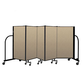 "Screenflex Portable Room Divider 5 Panel, 4'H x 9'5""L, Vinyl Color: Oatmeal"