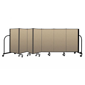 "Screenflex Portable Room Divider 7 Panel, 4'H x 13'1""L, Vinyl Color: Oatmeal"