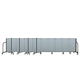 "Screenflex Portable Room Divider 13 Panel, 4'H x 24'1""L, Vinyl Color: Blue"