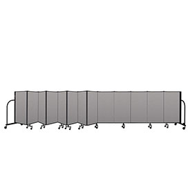 "Screenflex Portable Room Divider 13 Panel, 4'H x 24'1""L, Vinyl Color: Gray"