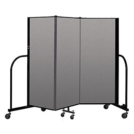 "Screenflex Portable Room Divider 3 Panel, 5'H x 5'9""L, Vinyl Color: Gray"