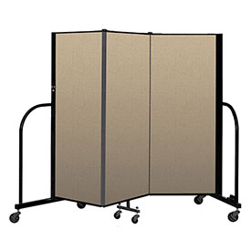 "Screenflex Portable Room Divider 3 Panel, 5'H x 5'9""L, Vinyl Color: Oatmeal"
