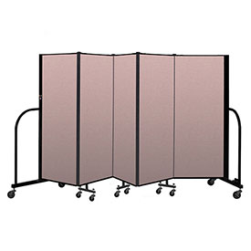 "Screenflex Portable Room Divider 5 Panel, 5'H x 9'5""L, Vinyl Color: Mauve"