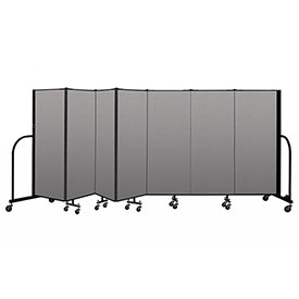 "Screenflex Portable Room Divider 7 Panel, 5'H x 13'1""L, Vinyl Color: Gray"