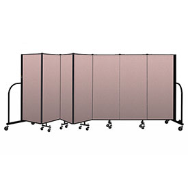 "Screenflex Portable Room Divider 7 Panel, 5'H x 13'1""L, Vinyl Color: Mauve"
