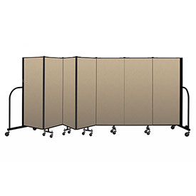 "Screenflex Portable Room Divider 7 Panel, 5'H x 13'1""L, Vinyl Color: Oatmeal"