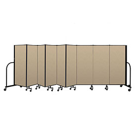 "Screenflex Portable Room Divider 9 Panel, 5'H x 16'9""L, Vinyl Color: Oatmeal"