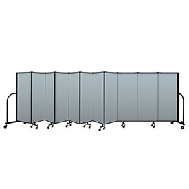 "Screenflex Portable Room Divider 11 Panel, 5'H x 20'5""L, Vinyl Color: Blue"