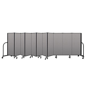 "Screenflex Portable Room Divider 11 Panel, 5'H x 20'5""L, Vinyl Color: Gray"