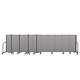 "Screenflex Portable Room Divider 13 Panel, 5'H x 24'1""L, Vinyl Color: Gray"