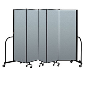 "Screenflex Portable Room Divider 5 Panel, 6'H x 9'5""L, Vinyl Color: Blue"