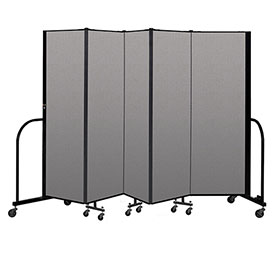 "Screenflex Portable Room Divider 5 Panel, 6'H x 9'5""L, Vinyl Color: Gray"