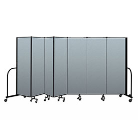"Screenflex Portable Room Divider 7 Panel, 6'H x 13'1""L, Vinyl Color: Blue"