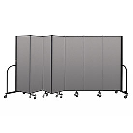 "Screenflex Portable Room Divider 7 Panel, 6'H x 13'1""L, Vinyl Color: Gray"