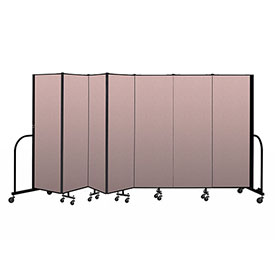 "Screenflex Portable Room Divider 7 Panel, 6'H x 13'1""L, Vinyl Color: Mauve"
