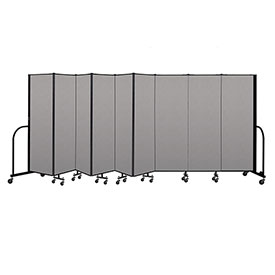 "Screenflex Portable Room Divider 9 Panel, 6'H x 16'9""L, Vinyl Color: Gray"