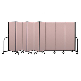 "Screenflex Portable Room Divider 9 Panel, 6'H x 16'9""L, Vinyl Color: Mauve"