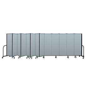 "Screenflex Portable Room Divider 13 Panel, 6'H x 24'1""L, Vinyl Color: Blue"
