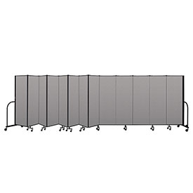 "Screenflex Portable Room Divider 13 Panel, 6'H x 24'1""L, Vinyl Color: Gray"
