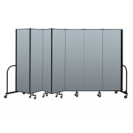 "Screenflex Portable Room Divider 7 Panel, 6'8""H x 13'1""L, Vinyl Color: Blue"