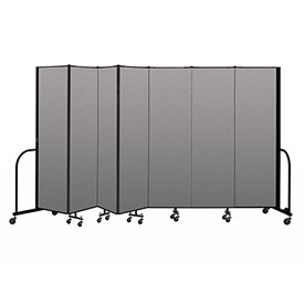 "Screenflex Portable Room Divider 7 Panel, 6'8""H x 13'1""L, Vinyl Color: Gray"