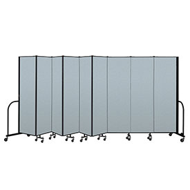 "Screenflex Portable Room Divider 9 Panel, 6'8""H x 16'9""L, Vinyl Color: Blue"