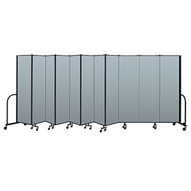 "Screenflex Portable Room Divider 11 Panel, 6'8""H x 20'5""L, Vinyl Color: Blue"