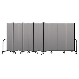 "Screenflex Portable Room Divider 11 Panel, 6'8""H x 20'5""L, Vinyl Color: Gray"