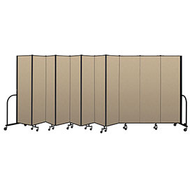"Screenflex Portable Room Divider 11 Panel, 6'8""H x 20'5""L, Vinyl Color: Oatmeal"
