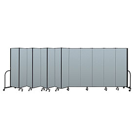 "Screenflex Portable Room Divider 13 Panel, 6'8""H x 24'1""L, Vinyl Color: Blue"