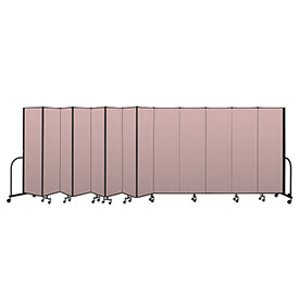 "Screenflex Portable Room Divider 13 Panel, 6'8""H x 24'1""L, Vinyl Color: Mauve"