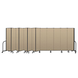 "Screenflex Portable Room Divider 13 Panel, 6'8""H x 24'1""L, Vinyl Color: Oatmeal"