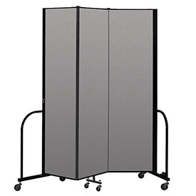 "Screenflex Portable Room Divider 3 Panel, 7'4""H x 5'9""L, Vinyl Color: Gray"