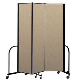 "Screenflex Portable Room Divider 3 Panel, 7'4""H x 5'9""L, Vinyl Color: Oatmeal"